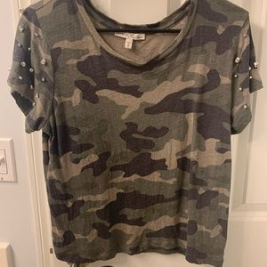 Express one eleven camo studded top